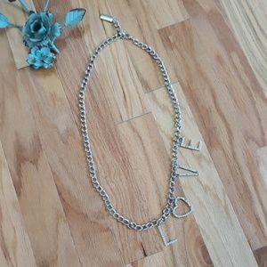 """5/$25"" Silvertone LOVE costume Necklace"